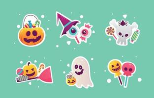 Halloween Day Trick or Treat Stickers vector