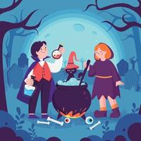 Boy and Girl Celebrate Halloween Day vector
