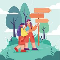 Couple Traveling with Map vector
