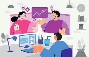 reunión de colaboración de trabajo en equipo profesional vector