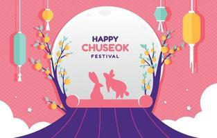 Mid Autumn Chuseok Festival Background vector