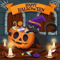Cute Black Cat with Witch Hat Celebrates Halloween vector
