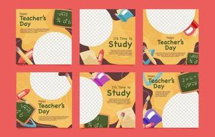Teacher's Day Social Media Post Template vector