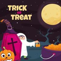 Trick or Treat in Halloween Night vector
