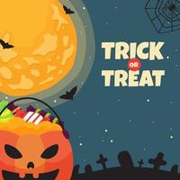 Trick or Treat with Pumpkin and Candies vector