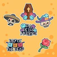 Dia de Los Muertos Colorful Sticker Pack vector