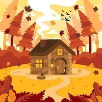 mini cabaña en el bosque vector