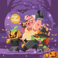 Trick or Treat with Gang vector