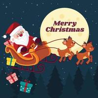Santa Rides in a Sleigh in Christmas Night vector
