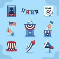 colección de iconos de elecciones de estados unidos vector