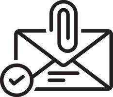 Line icon for email attachment vector