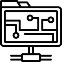 icono de línea para carpeta de red vector