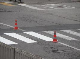 Road works with traffic cones photo