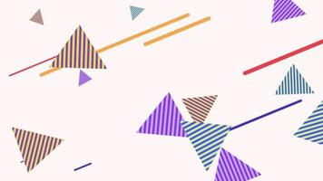 Motion abstract geometric lines and triangles on Memphis background video