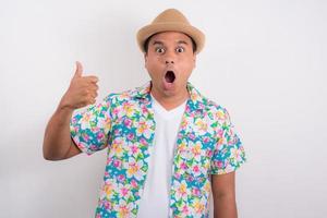 Young asian man wearing summer shirt photo