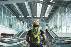 Young traveler man in the airport photo