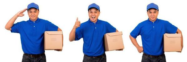 Deliveryman in blue uniform with parcel cardboard box on isolated photo
