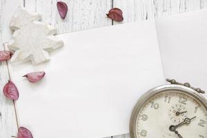 white painted wood table petals alarm clock Christmas tree craft photo