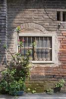 Ruina antigua pared de yeso de ladrillo y ventana rústica naturaleza maceta foto