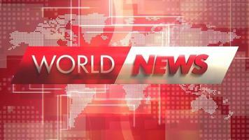 Gráfico de introducción de noticias y noticias mundiales con cuadrícula y mapa mundial en estudio video