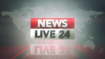 Noticias en vivo 24 y gráfico de introducción de noticias con líneas y mapa mundial en estudio video