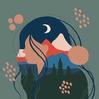 Female silhouette with mountain landscape as a background vector