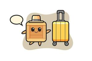 wooden box cartoon illustration with luggage on vacation vector