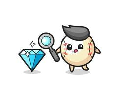 baseball mascot is checking the authenticity of a diamond vector