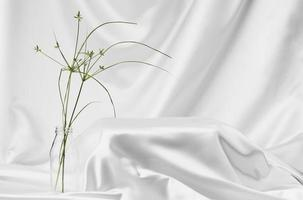 Abstract White Satin Silky Cloth for placing product photo