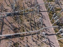 Aerial view of a high voltage electrical substation. photo