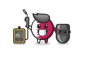 Character mascot of qatar flag badge as a welder vector