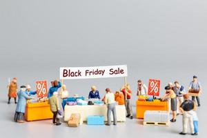 Shoppers with discount tray for shopping discounted items photo