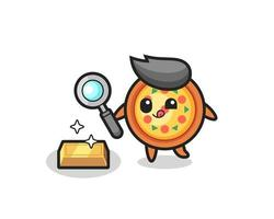 pizza character is checking the authenticity of the gold bullion vector
