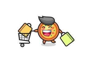 black Friday illustration with cute pizza mascot vector