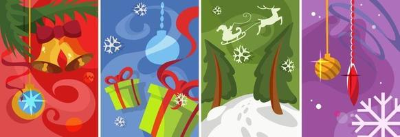 Collection of Christmas posters. Postcard designs in cartoon style. vector