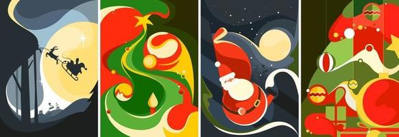 Collection of Christmas posters. Different postcard templates. vector
