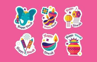 Happy Diwali Sticker Set vector