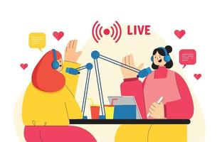 dos chicas teniendo una entrevista en vivo vector