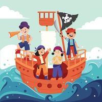 Pirate Kids in the Sea Concept vector