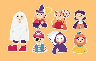 Halloween Costume Party Sticker Set vector