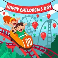 Celebrating Children's Day by Riding Roller Coaster vector
