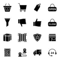 e commerce icon set solid style vector