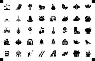 autumn icon set element vector