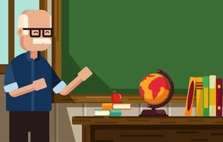 Teacher Standing in Front of Classroom vector