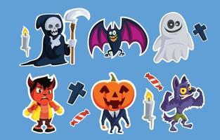 colección de lindas pegatinas de monstruos de halloween vector