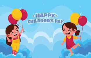 Best Friends Play Balloons on Children's Day vector