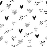 White cute pattern with doodle hearts Valentine Day paper love vector