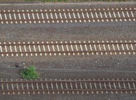 Aerial view of railway railroad line tracks photo