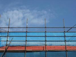 Scaffolding for construction work photo