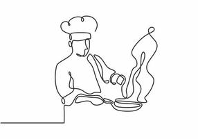 continuous line drawing of chef cooking big meal food vector